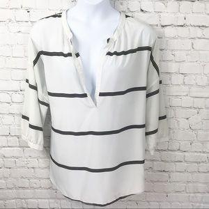White Navy Striped Deep V-Neck Silky Top